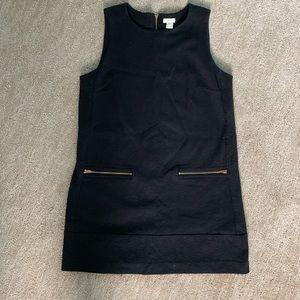 J Crew Factory Black Shift Dress w/ Zipper Pockets